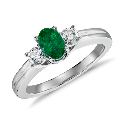 Petite Emerald and Diamond Ring in 18k White Gold 6x4mm Blue Nile