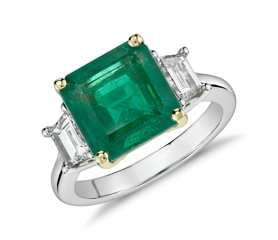 Emerald-Cut Emerald and Diamond Three-Stone Ring in Platinum and 18k Yellow Gold (3.85 ct center) (9.75x9.6mm)