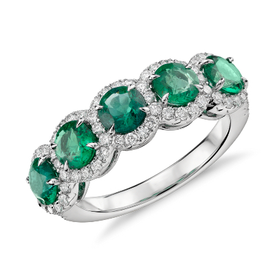Emerald and Diamond FiveStone Halo Ring in 18k White Gold 45mm