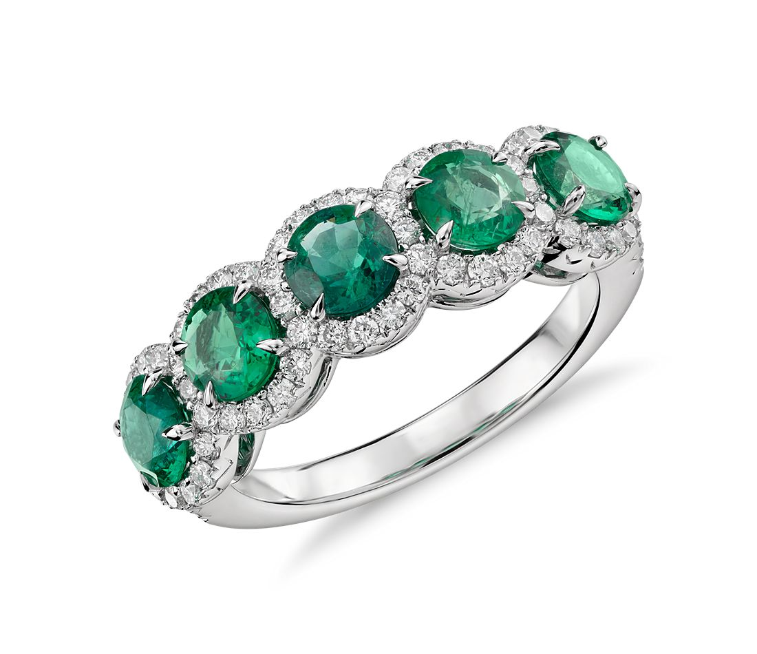 Emerald And Diamond Five Stone Halo Ring In 18k White Gold
