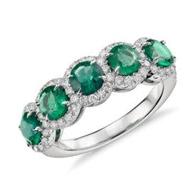 Bague halo cinq pierres diamant et émeraude en or blanc 18carats (4,5mm)