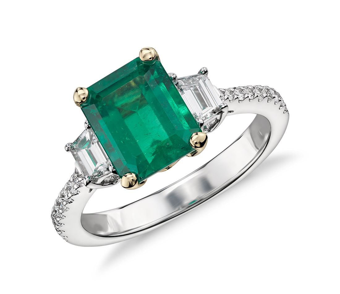 Emerald And Diamond Ring In 18k White Gold (2.16 Ct
