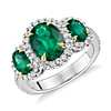 Three Stone Emerald and Diamond Halo Ring in 18k White and Yellow Gold (2.95 ct. tw.)