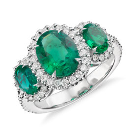 Three Stone Emerald and Diamond Halo Ring in 18k White Gold