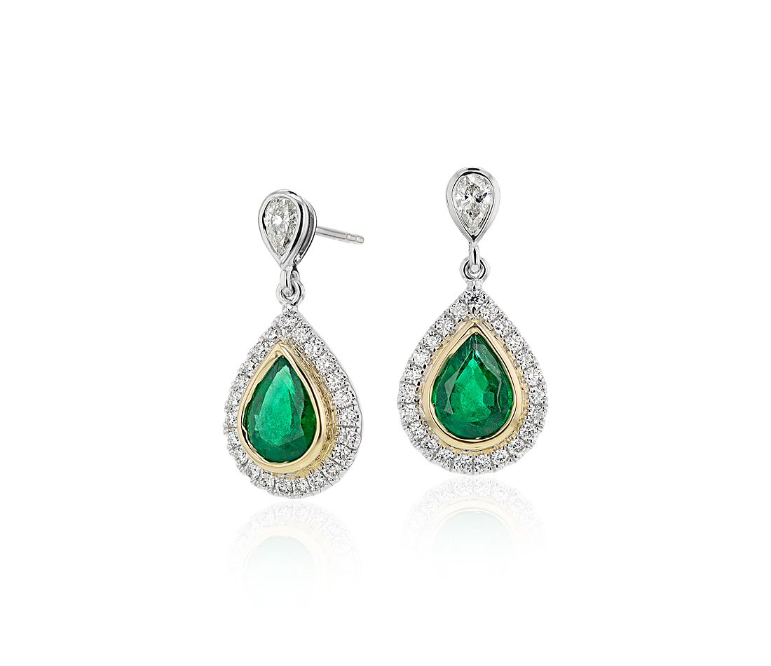 Emerald and Diamond Teardrop Earrings in 18k White and Yellow Gold