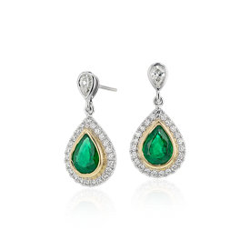 NEW Emerald and Diamond Teardrop Earrings in 18k White & Yellow Gold (1.76 ct. tw.)