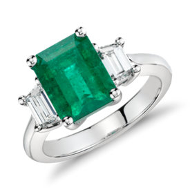 Emerald and Diamond Three-Stone Ring in Platinum (3.13 cts)