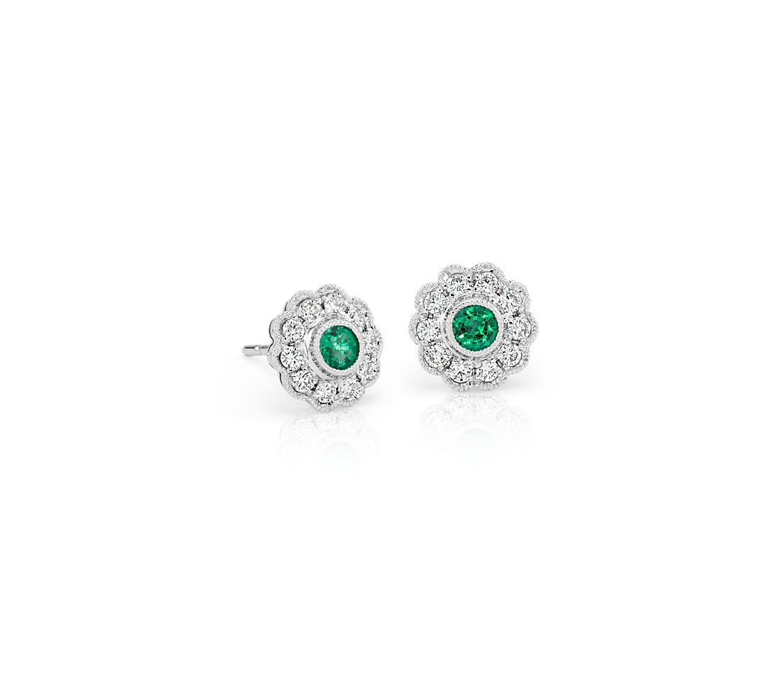Emerald And Diamond Vintage Inspired Fiore Stud Earrings In 14k White Gold 3mm