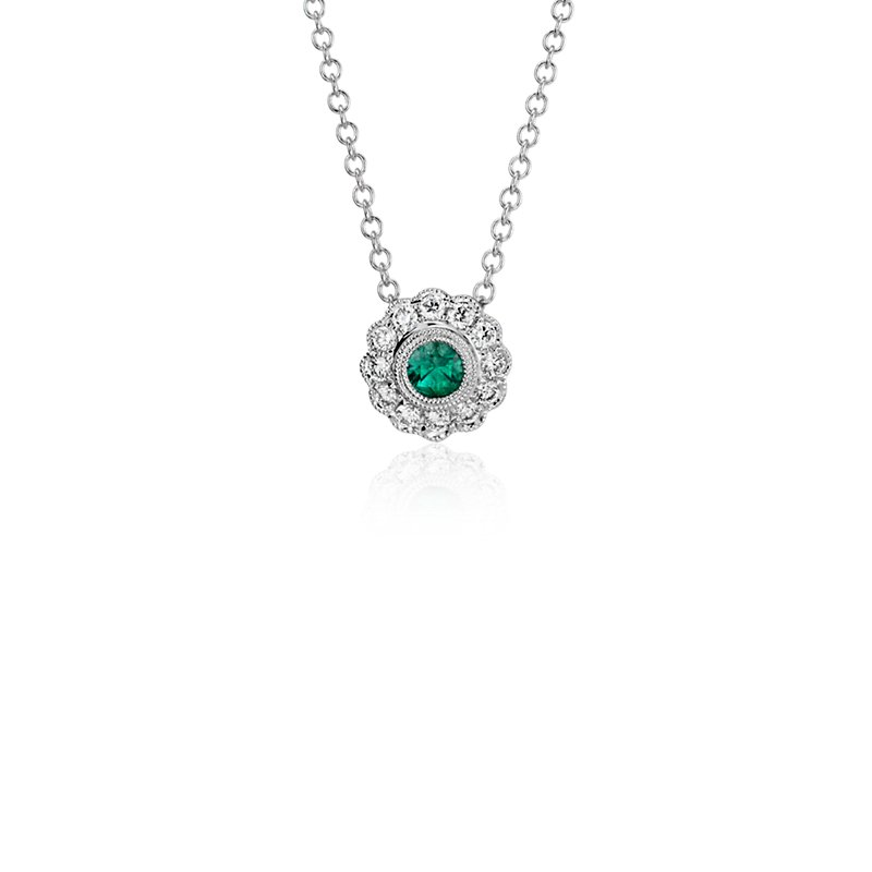 Emerald and Diamond Vintage-Inspired Fiore Pendant in 14k White G