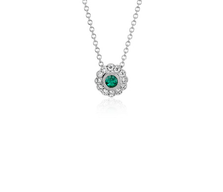 Emerald and Diamond Vintage-Inspired Fiore Pendant in 14k White Gold (3.5mm)