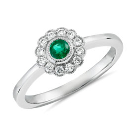 Emerald and Diamond Halo Vintage-Inspired Fiore Ring in 14k White Gold (3.5mm)