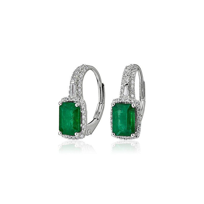 Emerald Drop Earrings in 14k White Gold
