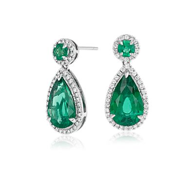 Grande Emerald and Diamond Halo Teardrop Earrings