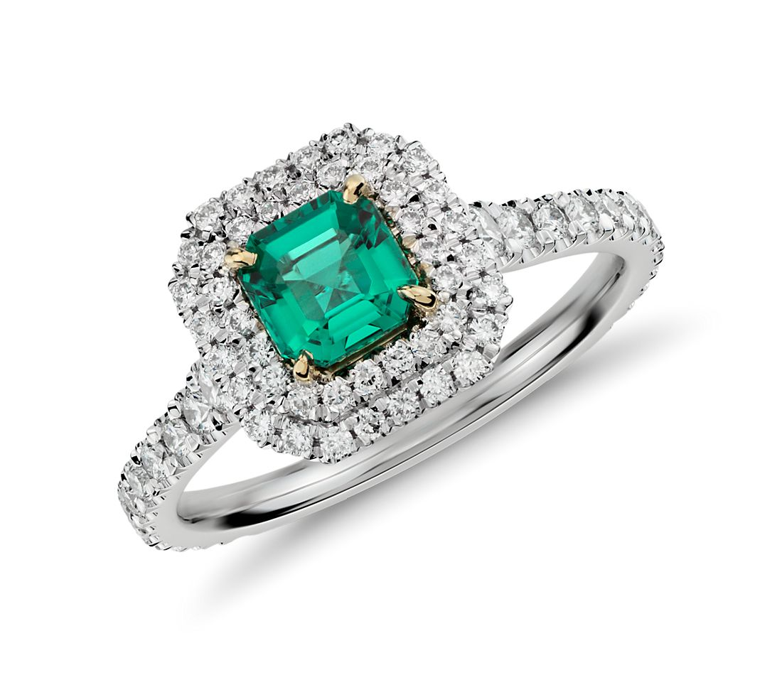 emerald and micropav 233 halo ring in 18k