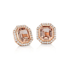 Emerald-Cut Morganite and Diamond Halo Earrings in 18k Rose Gold (9x8mm)