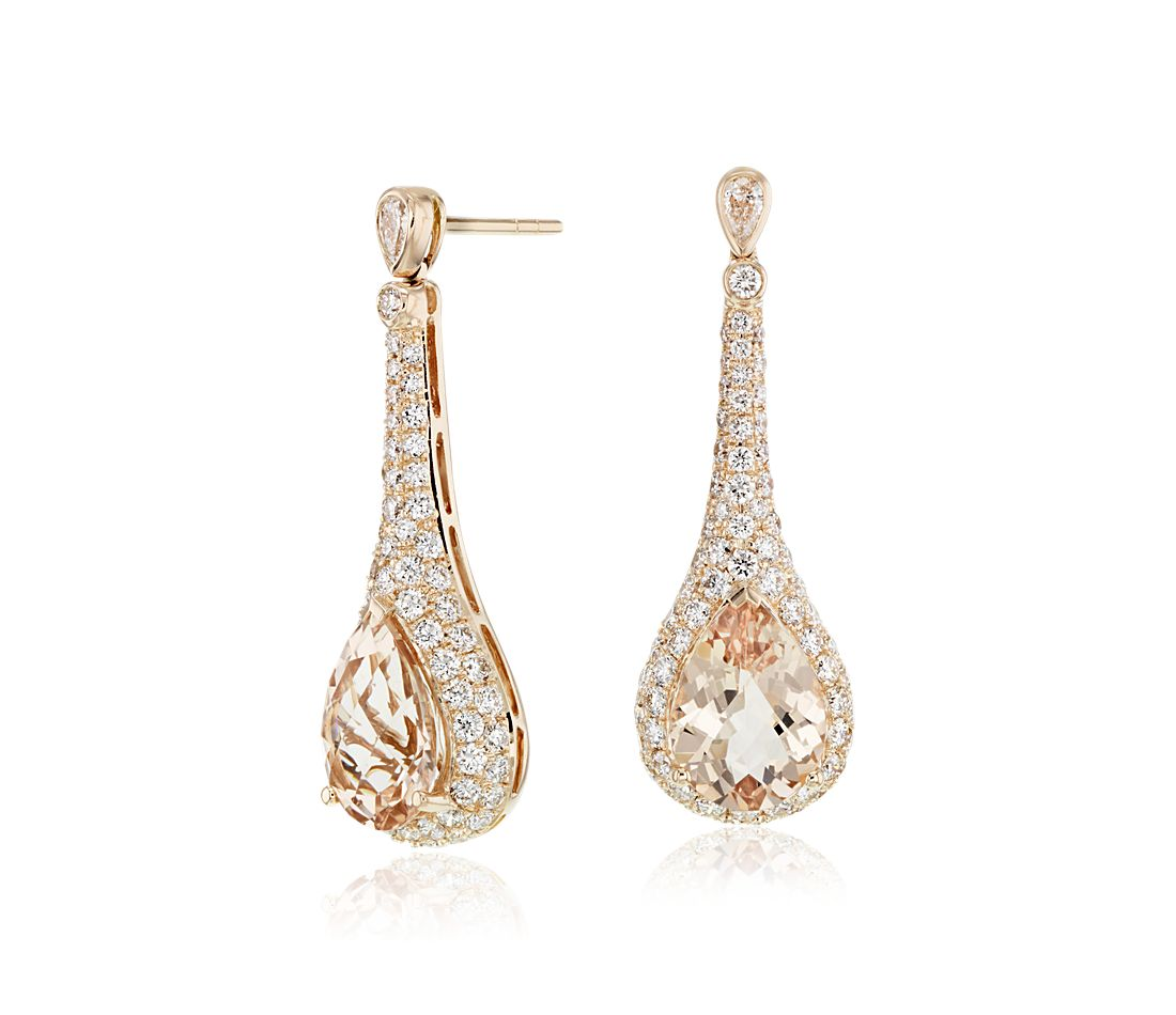 Pear-Shaped Morganite and Diamond Drop Earrings in 18k Rose Gold