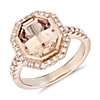 Emerald-Cut Morganite and Diamond Halo Ring in 18k Rose Gold (10x8mm)
