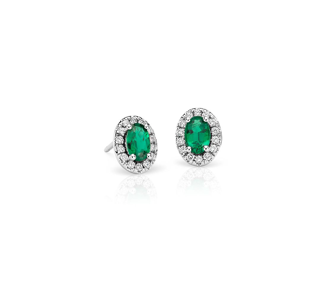 Emerald and Pavé Diamond Halo Earrings in 18k White Gold (6x4mm)