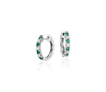 Petite Emerald and Diamond Pavé Huggie Hoop Earrings in 14k White Gold (1.6mm)