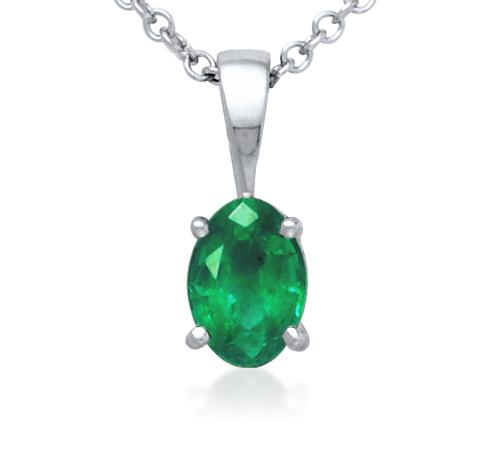 Oval Emerald  Pendant 18k White Gold (7x5mm)