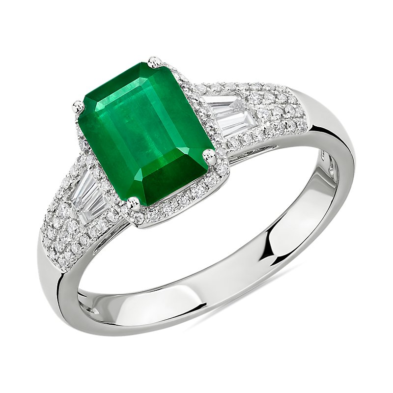 Emerald Ring with Diamond Baguette Accents in 14k White Gold