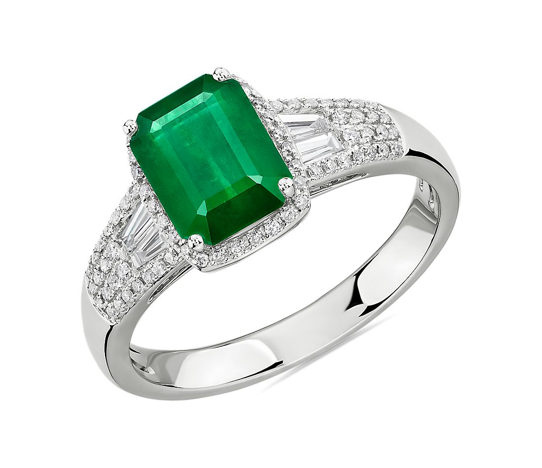 Emerald Ring With Diamond Baguette Accents In 14k White