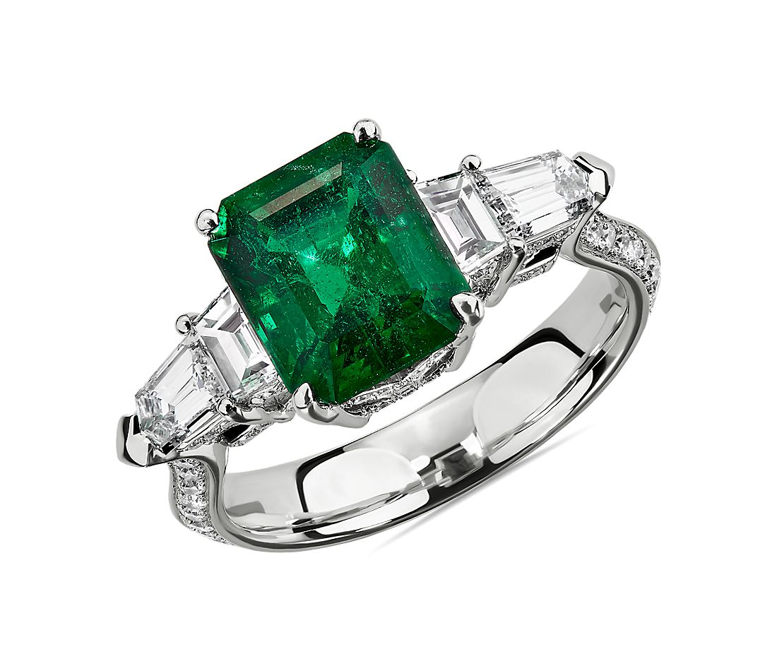 Emerald Ring with Diamond Sidestones in 18k White Gold