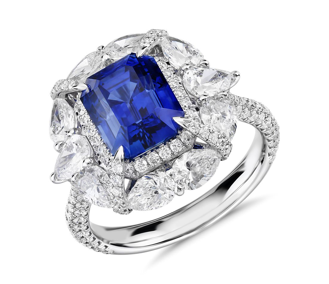 Emerald-Cut Sapphire and Pear-Shaped Diamond Halo Ring in 18k White Gold