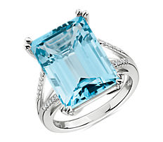 NEW Sky Blue Topaz and Diamond Cocktail Ring in 14k White Gold
