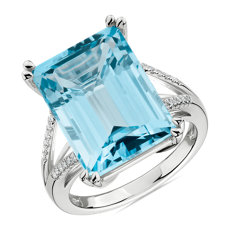 Sky Blue Topaz and Diamond Cocktail Ring in 14k White Gold