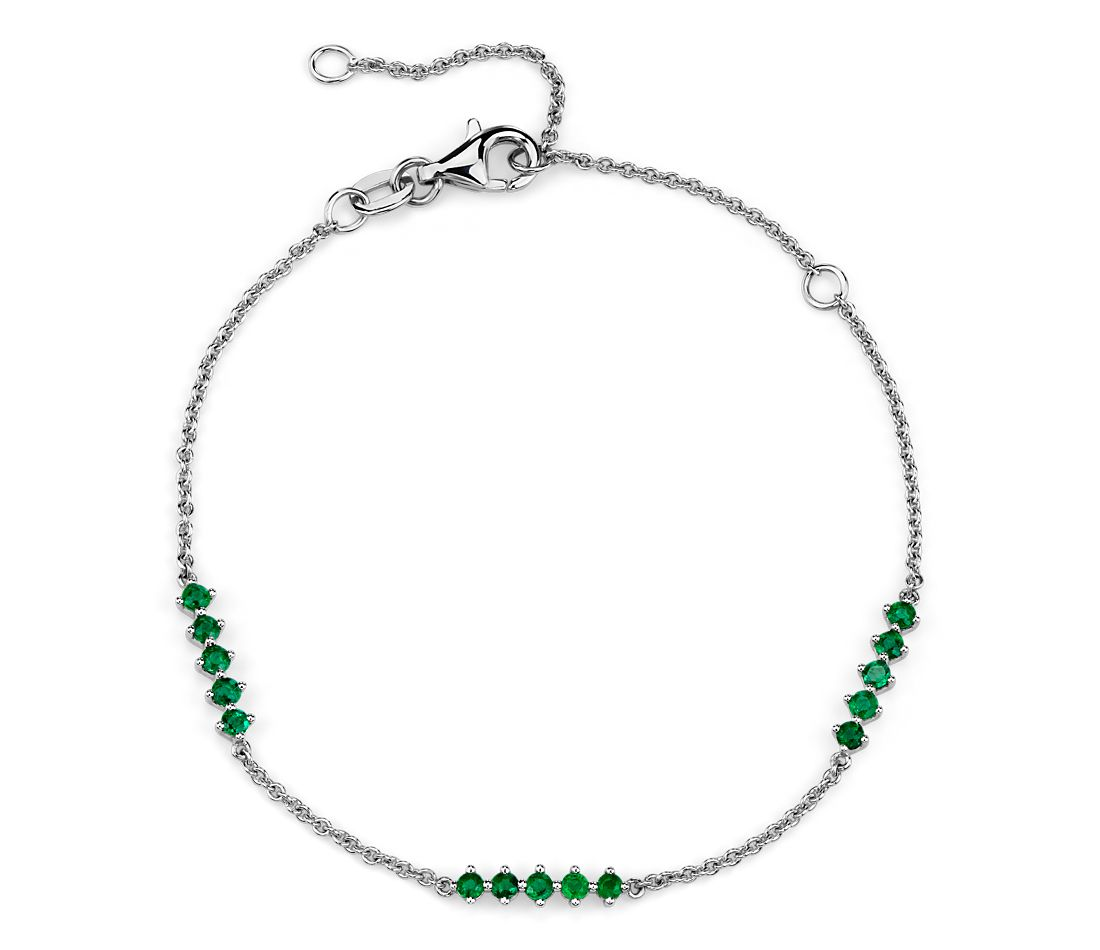Emerald Station Bar Bracelet in 14k White Gold (1.9mm)