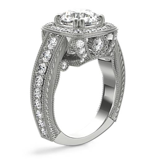 Bella Vaughan for Blue Nile Empire Cushion Halo Hand-Engraved Engagement Ring