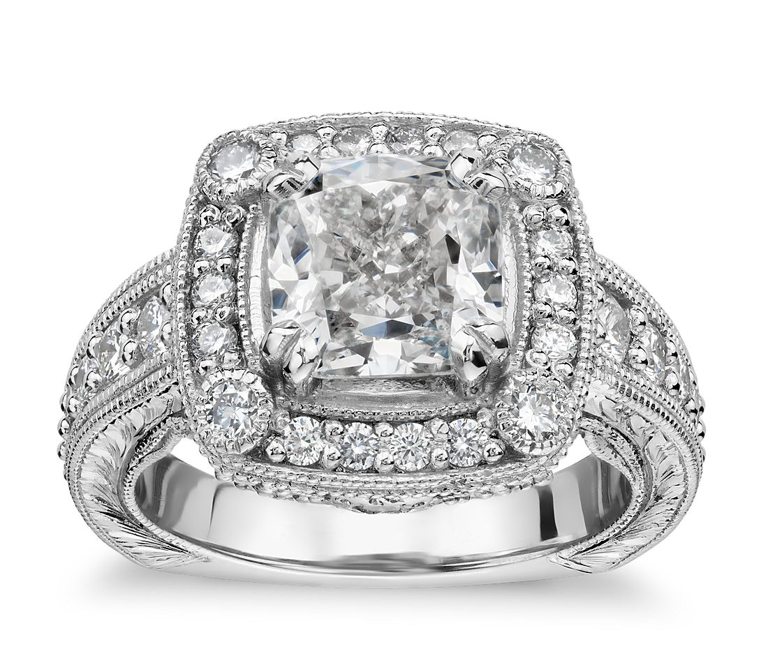 Bella Vaughan For Blue Nile Empire Cushion Halo Handengraved Engagement  Ring In Platinum (125 Ct Tw)