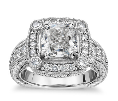 Bella Vaughan for Blue Nile Empire Cushion Halo Hand-Engraved Engagement Ring in Platinum (1.25 ct. tw.)