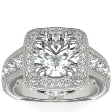 Bella Vaughan for Blue Nile Empire Cushion Halo Hand-Engraved Engagement Ring in Platinum