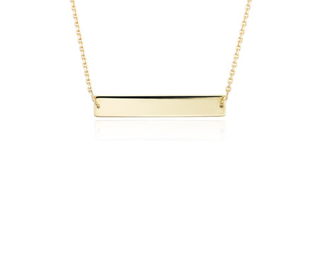 Engravable Bar Choker in 14k Yellow Gold