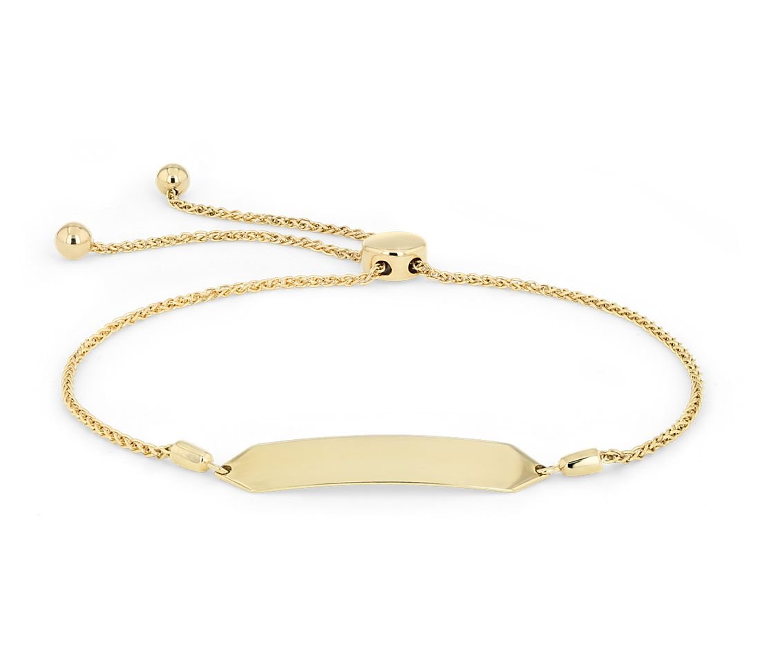 Engravable Bolo Bracelet in 14k Yellow Gold