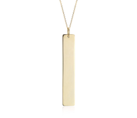 Thin Vertical Bar Necklace in 14k Yellow Gold