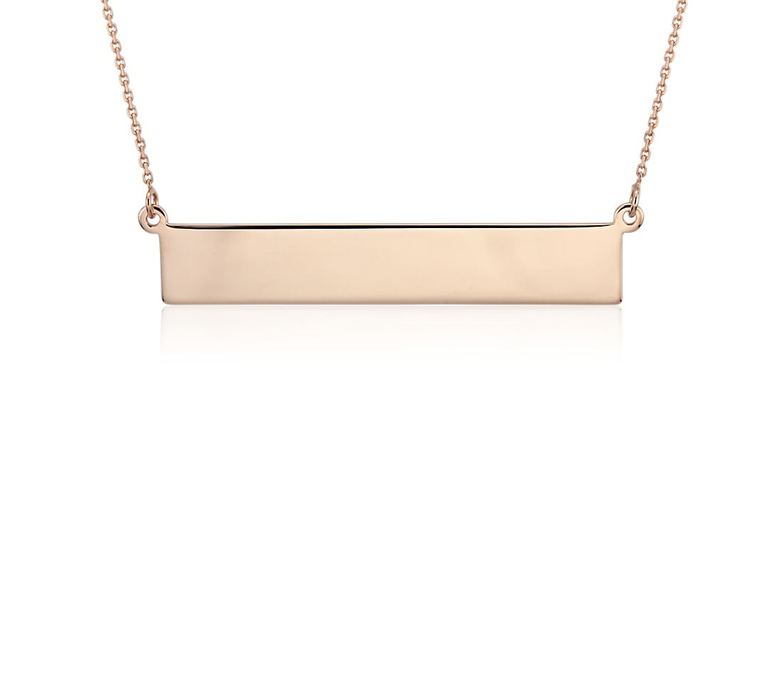 Engravable Bar Necklace in 14k Rose Gold