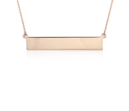 Bar Necklace in 14k Rose Gold