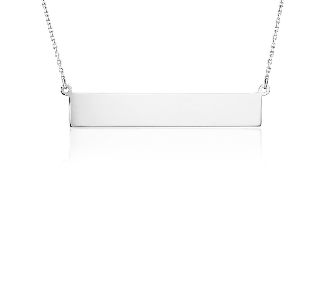 Engravable Bar Necklace in Platinum