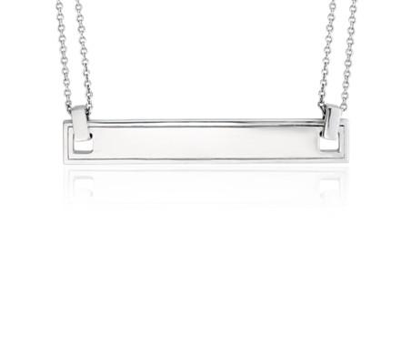 Blue Nile Engravable Bar Necklace in Sterling Silver wkQEM