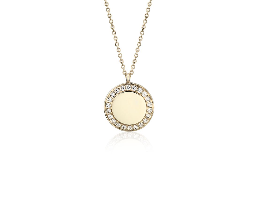 Engravable Diamond Disc Pendant in 14k Yellow Gold (1/6 ct. tw.)