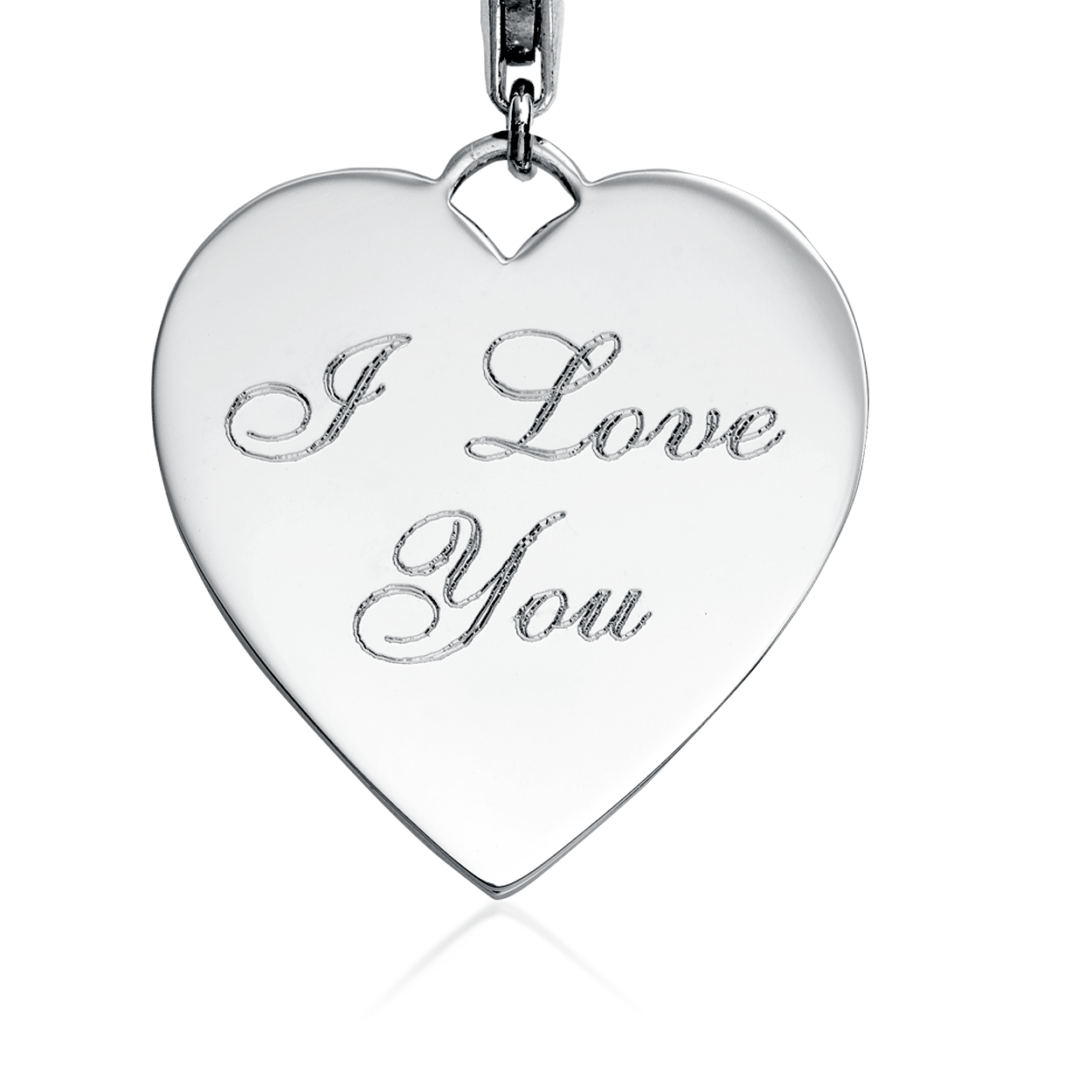 Engravable I Love You Heart Charm in Sterling Silver