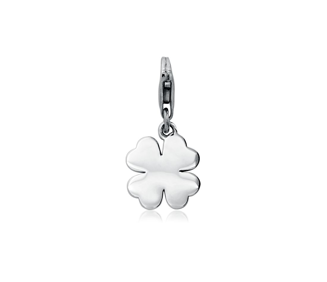 Engravable Four-Leaf Clover Charm in Sterling Silver