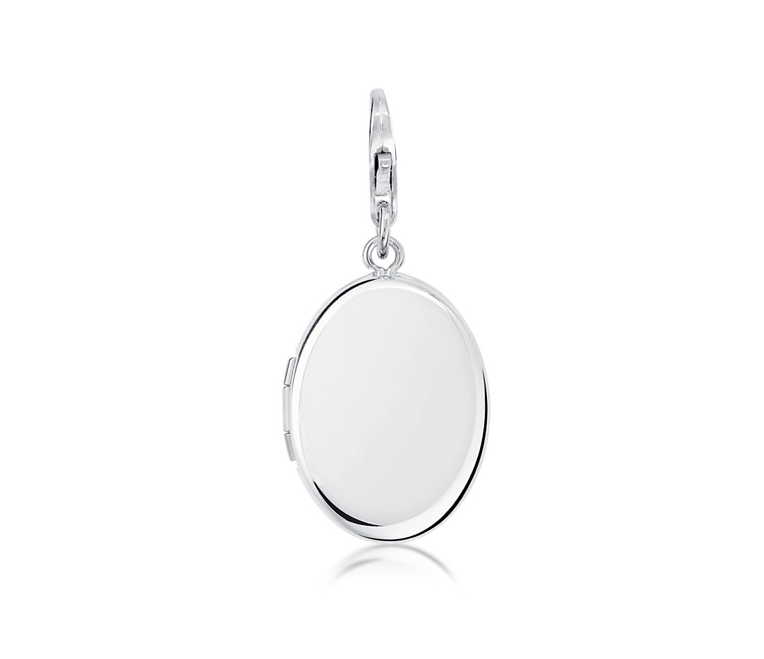 Engravable Oval Locket Charm in Sterling Silver