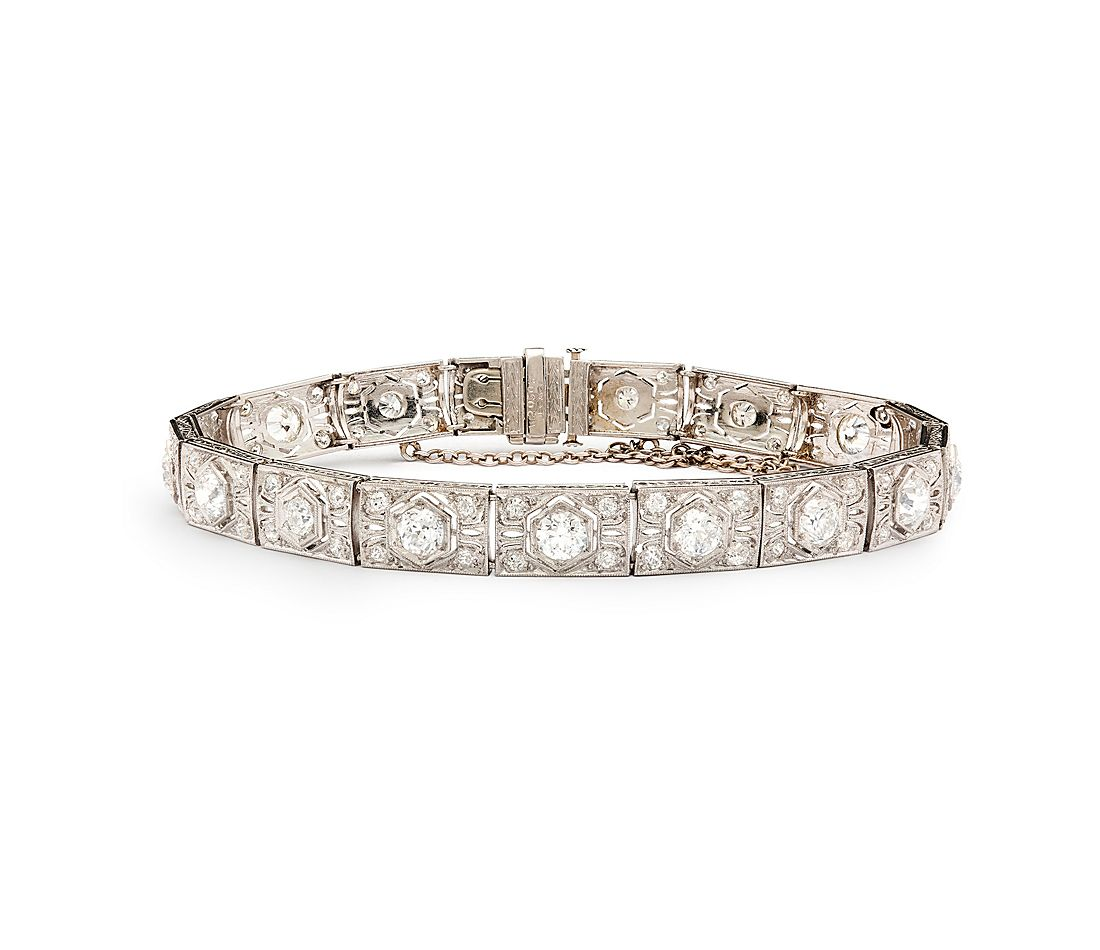 Estate Art Deco Diamond Bracelet In Platinum 5 90 Ct Tw