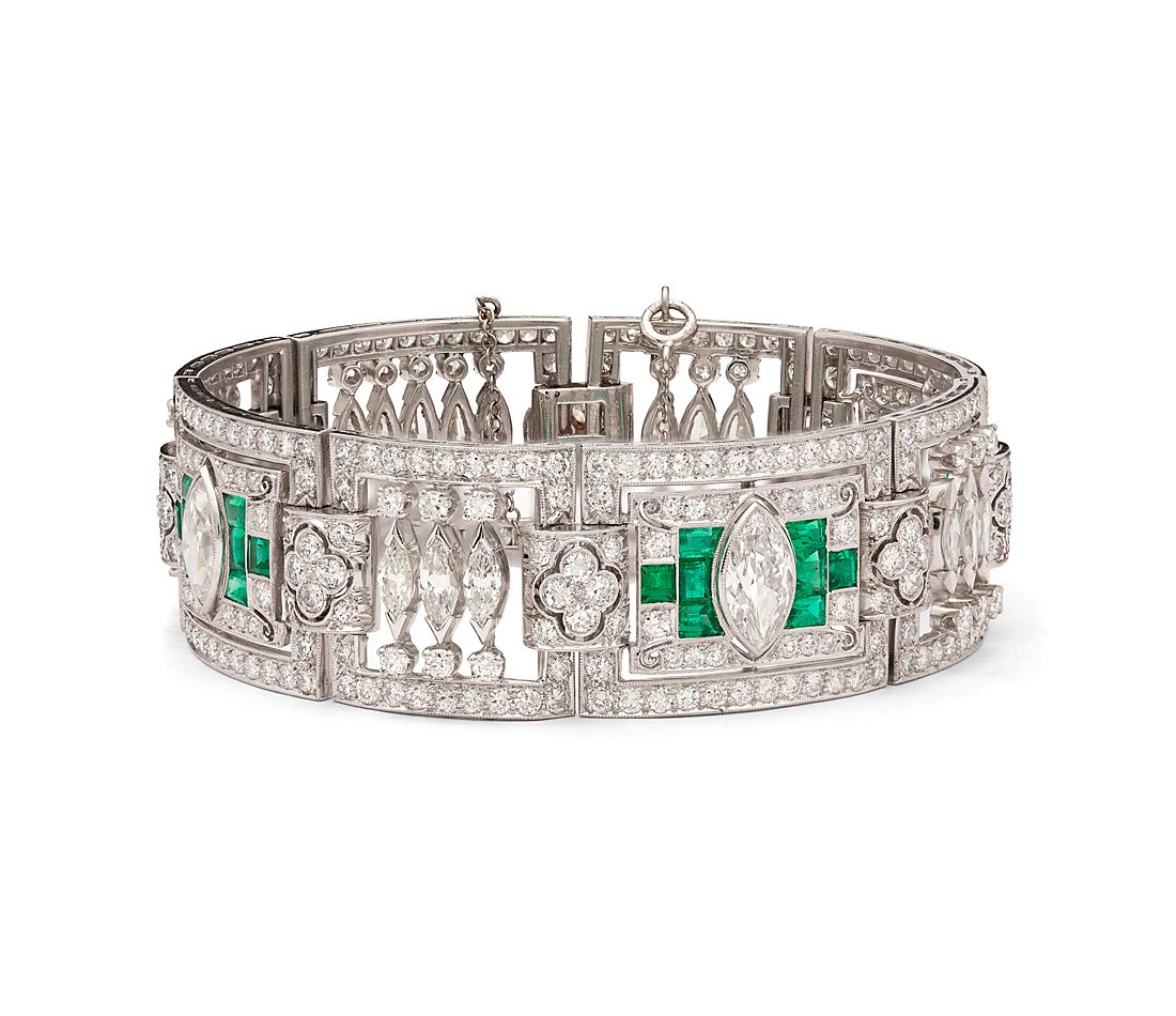 Estate Art Deco Diamond And Emerald Bracelet In Platinum