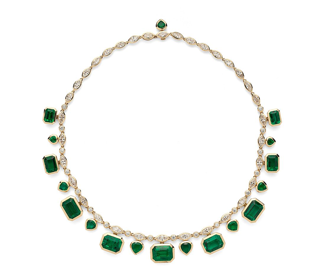 Estate Emerald And Diamond Statement Necklace 52 71 Ct