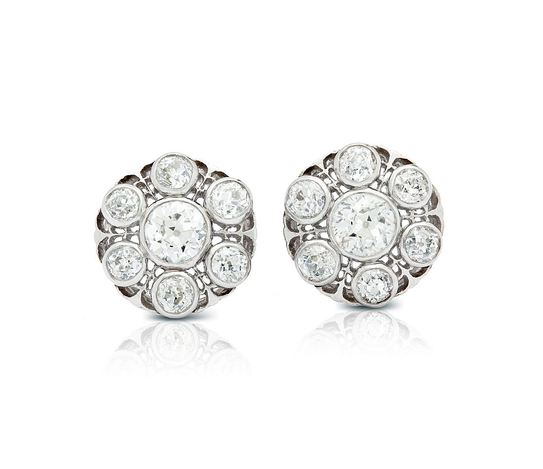 Estate Victorian Filigree Diamond Earrings In 18k White Gold 3 30 Ct Tw